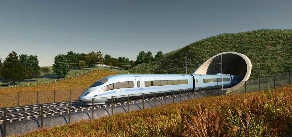 Artists impression of the new high speed 2, which is set to cause several housing issues that could cause HS2 compensation claims.